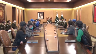 Photo of Mountaineers' Group, Part of  Historic International Winter K-2 Expedition, Visits GHQ, Meets Army Chief
